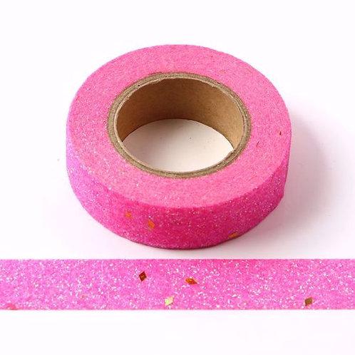 G037 - Masking tape 15 mm  Paillettes rose éclats dorés glitter