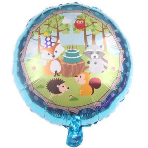 Ballon aluminium rond  goûter d'anniversaire animaux - hélium