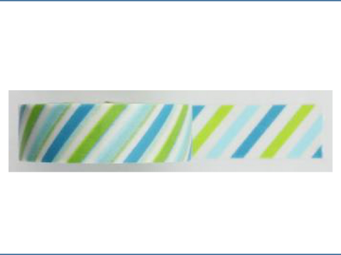 W348 - Masking tape rayures vertes et bleues