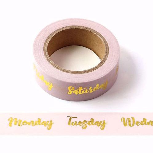 F106 - Masking tape métallique 15mm foil rose pâle dates de la semaine dorées