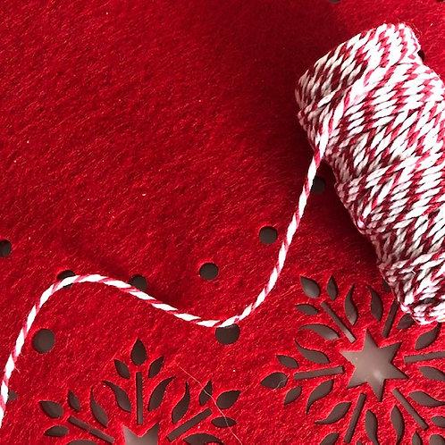 Bobine de 20m de Baker's Twine rouge/blanc 12 plis