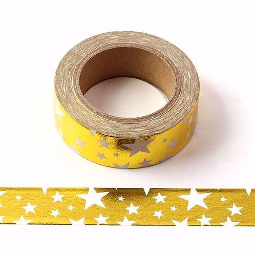 Masking Tape métallique 15mm foil Doré étoile blanche