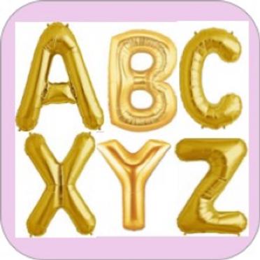 Ballon Lettre mylar or dorée  40 cm bannière suspension