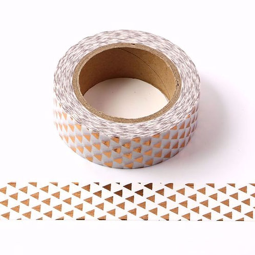 F032 - Masking tape métallique 15mm foil triangles cuivre