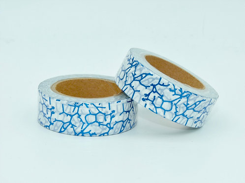 F099 - Masking tape foil blanc motifs bleus