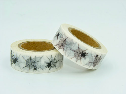 W206 - Masking Tape Blanc Toile d'araignée noire fun