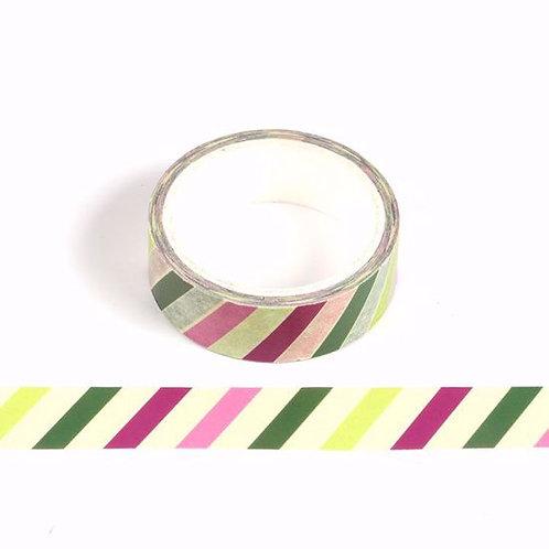 Masking tape rayures colorées jaune vert rose beige