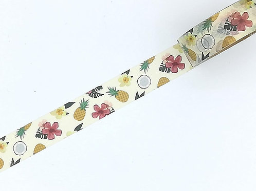 W374 -  Masking tape ananas fleurs jungle I  Pineapple jungle flower washi tape