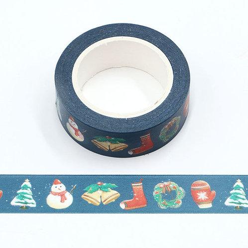 W532 - Masking tape 10m chaussette de Noël et cloche