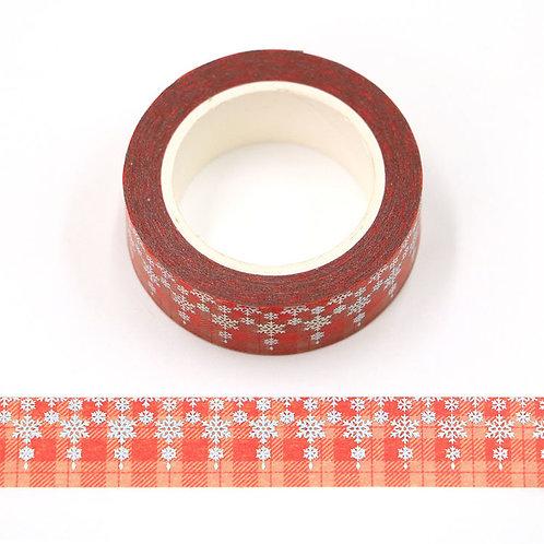 Masking tape  métallique 15 mm motif quadrillage rouge et blanc flocons