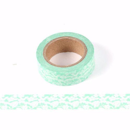 Masking tape vert clair motif floral 15mm x 10m