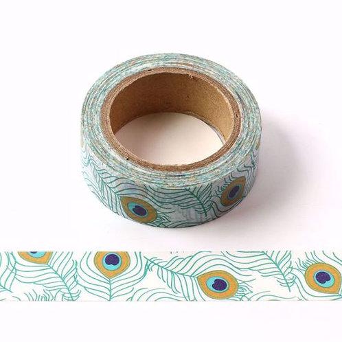 Masking tape plume de paon vert