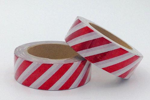 F038 - Masking tape foil blanc rayures rouges