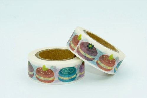 W185-  Masking tape blanc macarons colorés design enfant marine 15mm