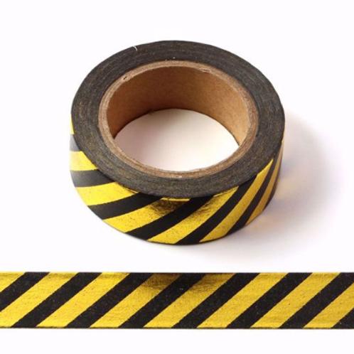Masking tape métallique 15mm doré rayures noires