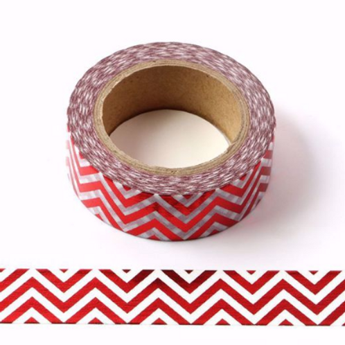 F040 - Masking tape métallique 15mm foil blanc zig zag rouge