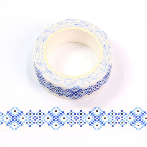 W575 - Masking tape 15 mm motif mosaïque bleue