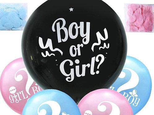 Kit Ballon  noir opaque gender reveal fille ou garçon,  confettis roses et bleus