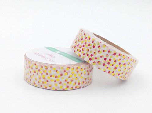 F047- Masking tape foil pois dorés et rouges