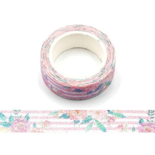 Masking tape paillettes roses et rayures roses  glitter 15mm x 3m