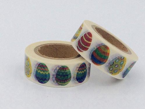 W061-  Masking tape oeuf de pâques colorés enfant design  15m