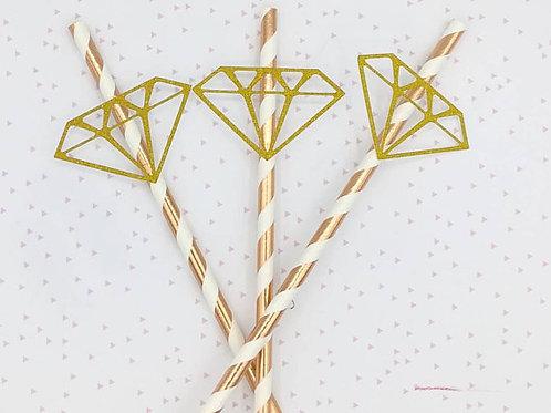 Pailles diamant pour evjf enterrement vie de jeune fille, anniversaire rose gold