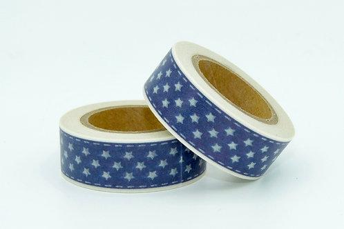W218 - Masking tape bleu étoiles blanches
