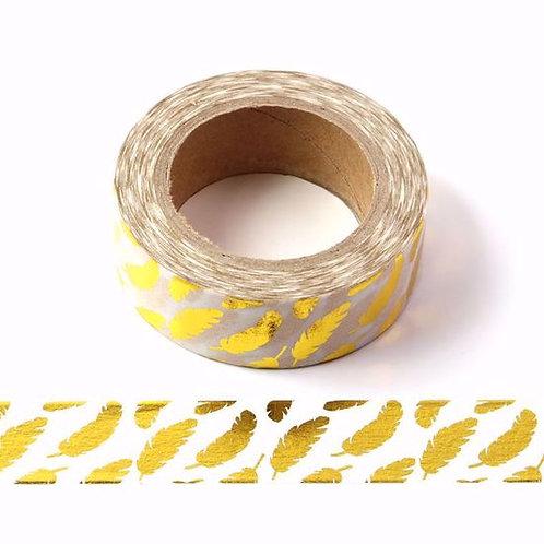 Masking tape foil blanc plumes dorées 15mm x 10m