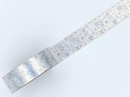 F111 - Masking tape foil argent étoiles holographiques