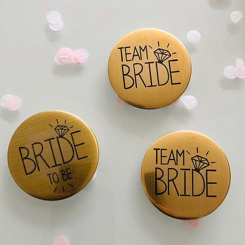 Badge pour EVJF mariée et Team bride en doré