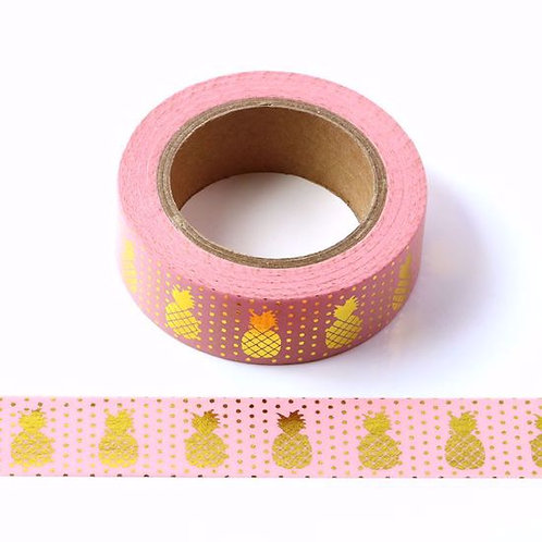Masking tape foil métallique 15mm  rose ananas doré
