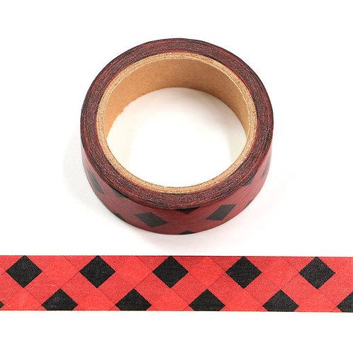 W570 - Masking tape 15 mm motif quadrillage rouge et noir