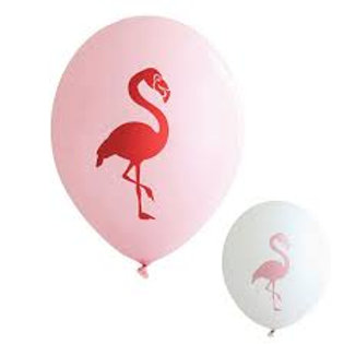 10 Ballons latex 20 cm Flamant Rose - rose ou blanc
