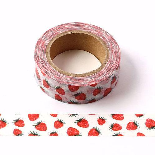 Masking tape petites fraises rouges  15mm x 10m