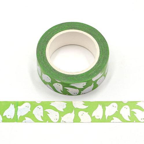 Masking tape métallique   vert fantômes holographiques 15mm x 10m