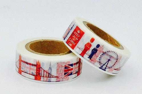 W307 - Masking tape London bridge + drapeau
