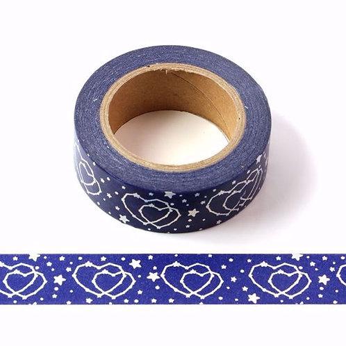 Masking tape foil bleu coeur argent