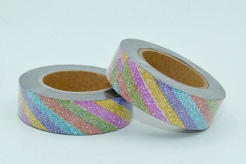 Masking tape  paillettes glitter rayures acidulées 15mm x 10m