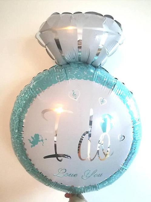 Ballon mylar bague solitaire diamant  OR taille 84x54 cm fiancailles ma