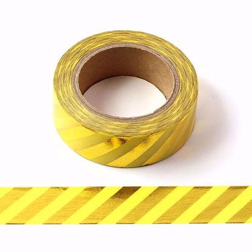 Masking tape foil jaune rayures dorées 15mm x 10m