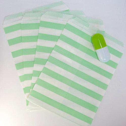 Lot de 12 sachets papiers blanc rayures vert clair candy bar