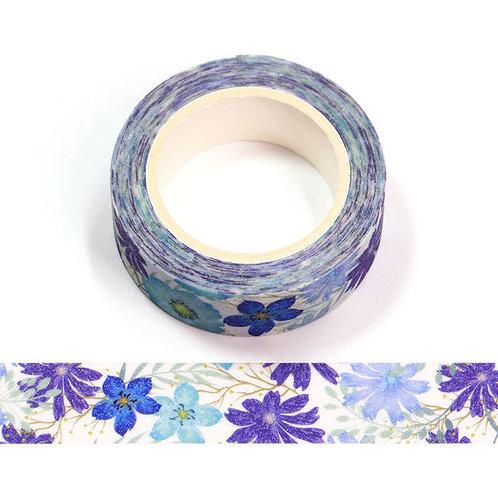 Masking tape paillettes motif fleurs bleues et violettes 15mm x 5m
