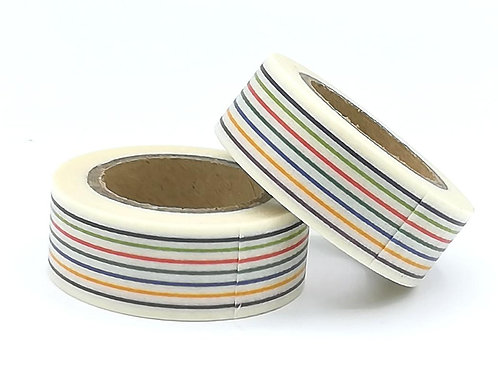 W328 - Masking tape rayures multicolores