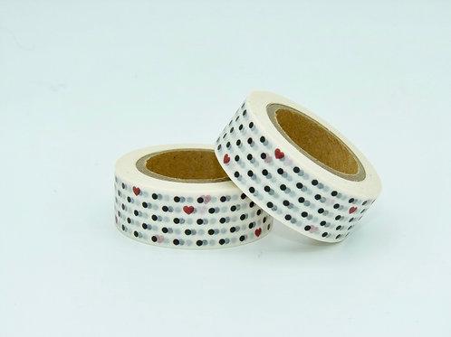 W171 - Masking tape petits coeurs noirs et rouges