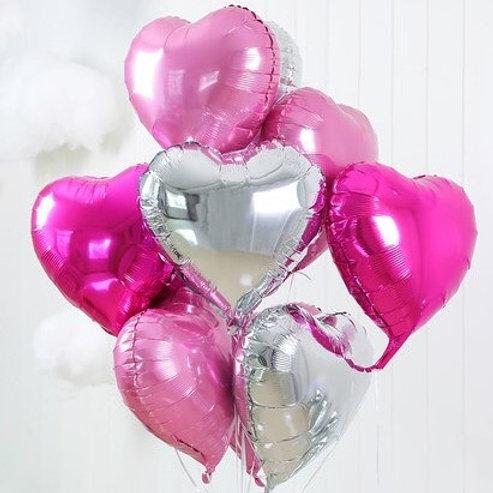 Ensemble de 10 ballons coeurs thème rose