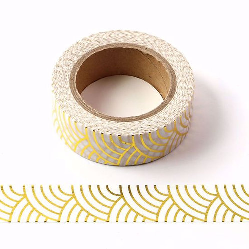 F115 - Masking tape métallique  foil or vagues japonaises