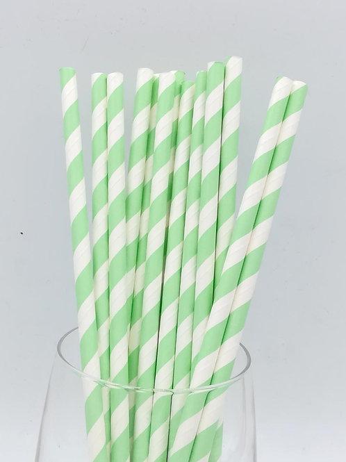 25 pailles papier rayures vert clair