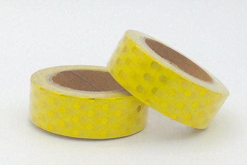 F060 - Masking tape foil jaune pois dorés