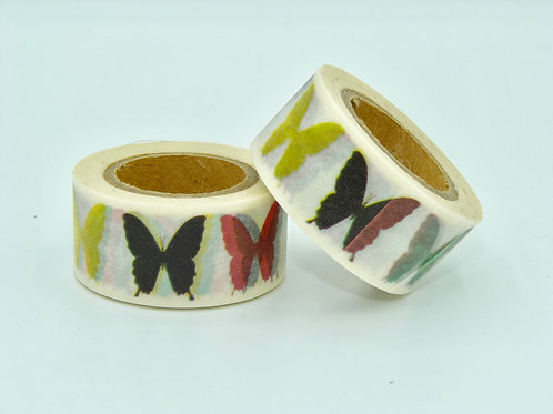 W134 -  Masking tape papillons colorés   design  25mm x