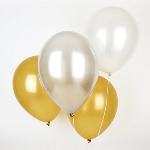 10 Ballons latex 30 cm Thème or argent et perle
